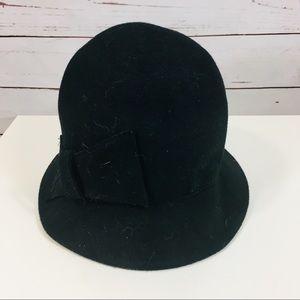 Accessories - 100% wool women's bowler fedora hat black